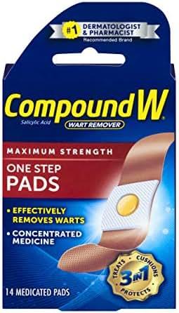 Compound W One Step Pads | Salicylic Acid Wart Remover | 14 Pads