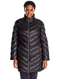 Women's Plus-Size Chevron-Quilted Packable Down Coat