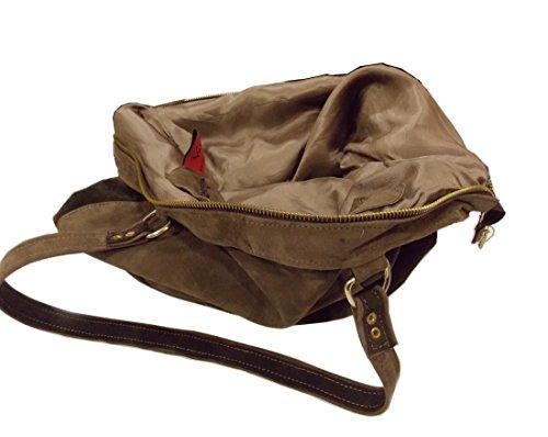 Vietri Leather - Bolso al hombro de Piel para mujer Marrón marrón/beige Dimensione Grande