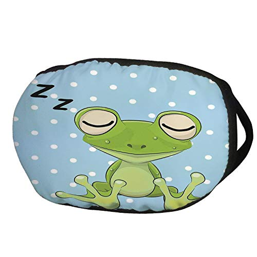 (Fashion Cotton Antidust Face Mouth Mask,Cartoon,Sleeping Prince Frog in a Cap Polka Dots Background Cute Animal World Kids Home Decor,Green Blue,for women &)