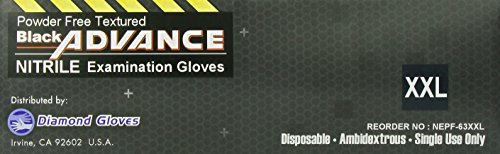 Diamond Gloves Black Advance Powder-Free Nitrile Examination Gloves, 6.3 Mil, Heavy Duty, Medical Grade, 100 Count XXL