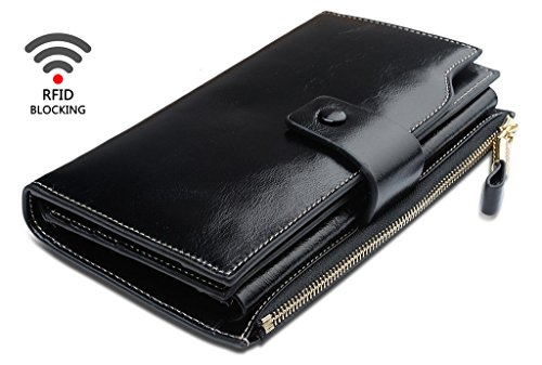 Obosoyo Womens RFID Blocking Large Capacity Luxury Wax Genuine Leather Clutch Wallet Card Holder Organizer Ladies Purse