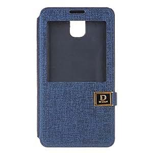 YULIN Teléfono Móvil Samsung - Carcasas de Cuerpo Completo - Color Sólido - para Samsung Galaxy Note 3 ( Azul Marino , Plástico/Cuero PU )