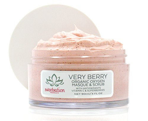 Best masque and scrub in one. VeryBerry Organic Oxygen Masque and Scrub with Antioxidants, Vitamin C, Enzymes Superberries, 3oz. Promotes smooth, hydrated, supple and radiant skin.