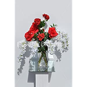 Silk Blooms Ltd Fresh Red Rose & White Delphinium Floral Vase Table Display 9