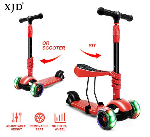 XJD 3-in-1 Kick Scooter Toddler Scooter with Removable Seat Great for Kids Boys Girls Adjustable Height Extra-Wide Deck PU Flashing Wheels Children from 2 to 8 Year-Old (Red)