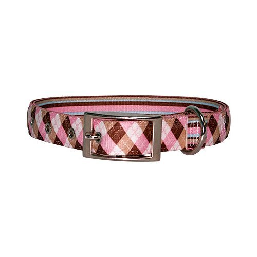Yellow Dog Design Uptown Collar, Small, Pink/Brown Argyle on Stripes