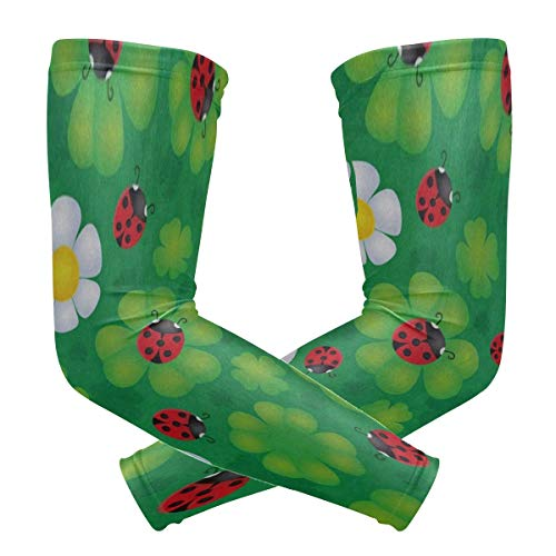 - Arm Sleeves Cute Ladybug On Luck Shamrock Clover St Man Baseball Long Cooling Sleeves Sun UV Compression Arm Covers