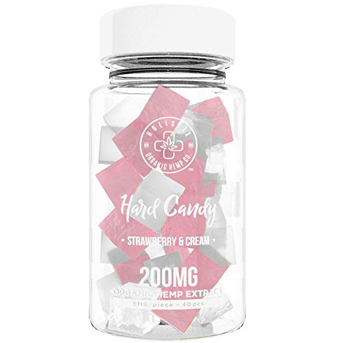Organic Hemp Infused Hard Candy, 200 mg (5mg/piece) - Made with Organic Beet Sugar - Relieve Stress, Boost Mood, Gluten Free, Non-GMO, USDA Certified Vegan 40 Candies, Strawberry and Cream