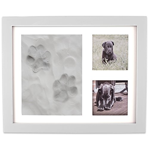 (DII Z02160 Keepsake Frame for Dog, Cat or Other Pet Photos and Paw Wall or Desk-Holds Two 3x3 Images & Clay Included for Imprints, White)