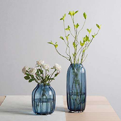CASAMOTION Vases Hand Blown Solid Color Home Decor Centerpieces Gift Art Ribbed Glass Vase, Grey Blue, Set of 2