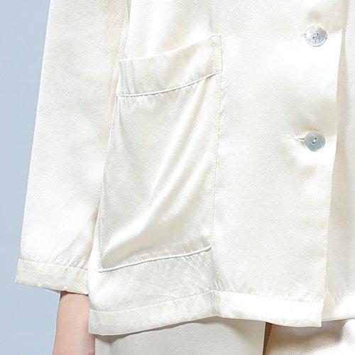 LULUSILK Conjunto de Pijama Largo de Seda 22 Momme con Dos Bolsillos Manga Larga con Pantalones Marfil