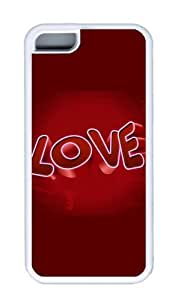 Customized Case 3D love TPU White for Apple iPhone 5C