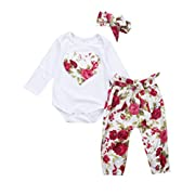 Newborn Baby Girls Floral Heart Peach Print Romper Long Pants Bowknot Headband Outfit Set (0-6 Months, Red)