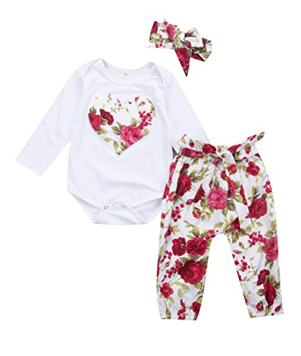 Miward Newborn Baby Girls Floral Heart Peach Print Romper Long Pants With Bowknot Headband Outfit Set (0-6 Months, Red)