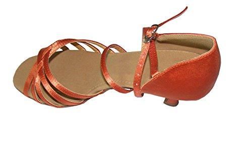 Colorfulworldstore Zapatos de baile latino con cinco correas de satén en color bronce/ rojo/negro/beige/naranja Beige