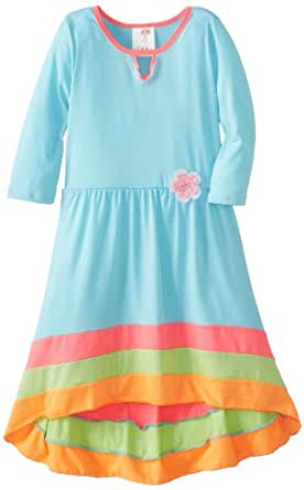 Ella and Lulu Big Girls' 3/4 Length Sleeve Colorblock Dress, Aqua, 8