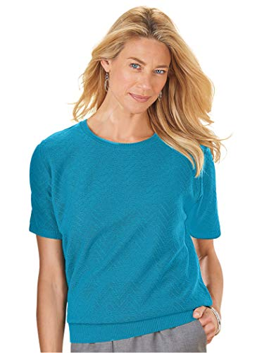 Alfred Dunner Blouse - Alfred Dunner Petites' Classic Sweater Shell Teal Petite Large
