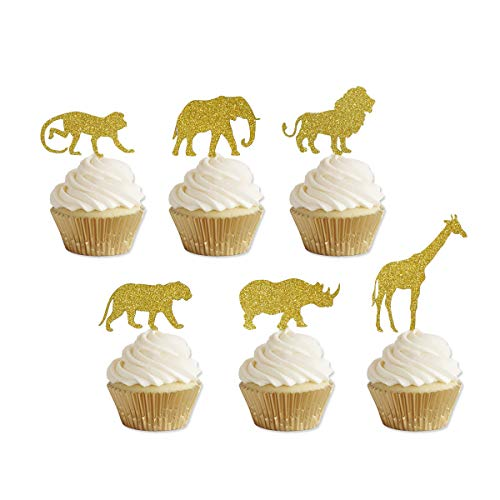 Gold Glitter Jungle Safari Animal Cupcake toppers Elephant Giraffe Rhino Lion Tiger Monkey for Jungle safari Baby Shower Birthday Party Supplies Decorations 24 Counts