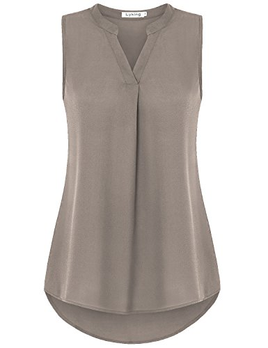 Lyking Women's Henley V Neck Sleeveless Curved Hem Chiffon Blouse Shirts Tank Tops (L, Coffee) by Lyking