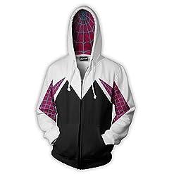 Alwoe Unisex Adult 3D Clothing Gwen Spider Cosplay Zipper Hooded Sweatshirt