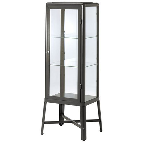 Ikea Fabrikor Glass Door Cabinet , Dark Gray, Lockable ...