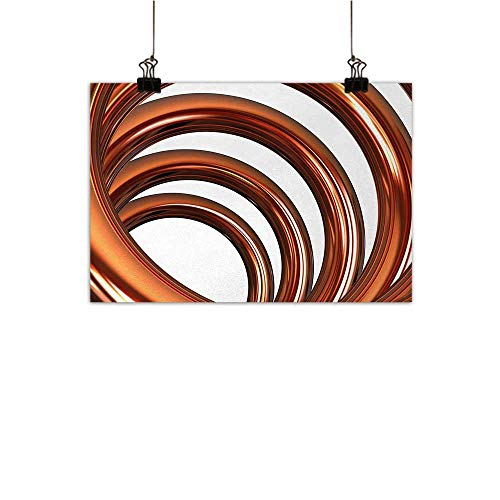 (Anzhutwelve Abstract Modern Frameless Painting Helix Coil Curved Spiral Pipe Swirled Shape on White Backdrop Print Bedroom Bedside Painting Dark Orange and White 20