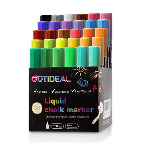 GOTIDEAL Liquid Chalk Markers, 30 colors Premium Window Chalkboard Neon Pens, Including 4 Metallic Colors, Painting and Drawing for Kids and Adults, Bistro & Restaurant, Wet Erase - Reversible Tip -