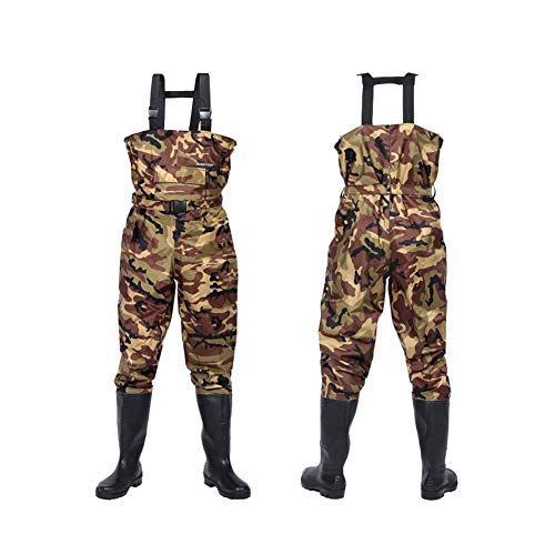 GLMHRNNA Hunting Waders,Waders for Men with Boots Fishing Waders Hip Waders Waterproof Insulated Breathable Keep Warm 2-Ply Nylon/PVC & for Men and Women (Green and Camo) (Camo-M13)