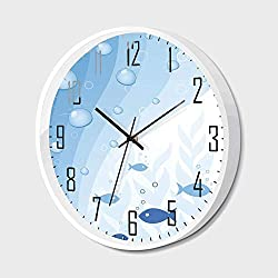 Wall Clock Silent Non-Ticking Decorative Round Quartz,Aquarium,Abstract Vivid Underwater Composition with Waves Bubbles Fishes and Plants Decorative,for Office,Bedroom,14inch