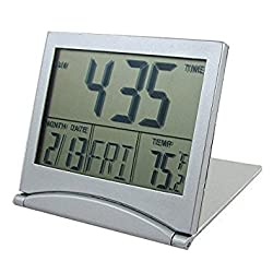 Generic Foldable Desktop Tabletop Calendar Temperature Digital Alarm Clock