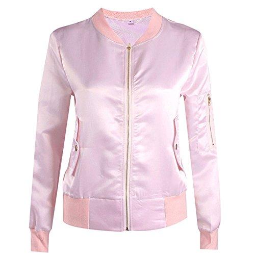 Binglinghua® Womens Lightweight Classic Biker Quilted Jacket Short Bomber Jacket Coat (Pink, S)