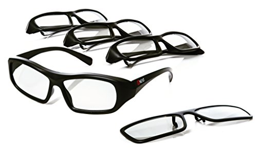 Passive 3D Glasses for LG, Sony, Panasonic, Toshiba, & more Passive 3D TVs - 4 Pack Plus 1 Eyeglasses Clip On - Watch your Best Movies with New Cinema & Home Theater Polarized Lenses