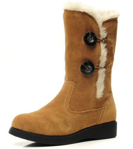 Dayiss® Damen Fashion Boots Stiefeletten Schuhe mit Pelz-Kragen