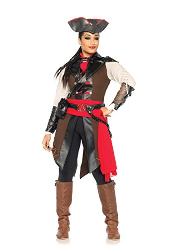 Colonial Assassin Costume (Leg Avenue Women's Assassin's Creed 8 Piece aveline Deluxe Costume Cosplay, Multi, Medium)