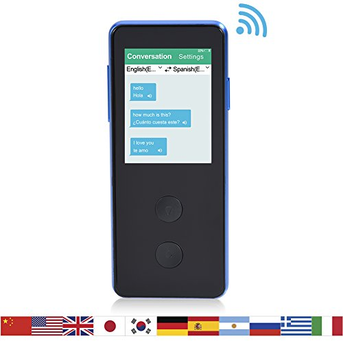fosa Smart Wifi Language Translator Device,Touch Screen Real-time Voice Two-way Multi Speech/Text Interactive Translation 35 Languages Multilingual Travel Translator for Learning Travelling (Black)