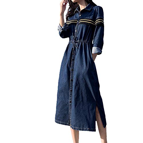 iLUGU Women Solid V-Neck Long Button Sleeve Waist Denim Skirt Casual Dress -