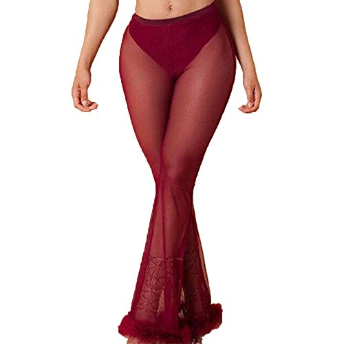 a680eaa2c9c70 Multitrust Sexy Women See Through Mesh Flare Cover Up Pants Swimsuit Bikini  Bottom Cover Up (Burgundy