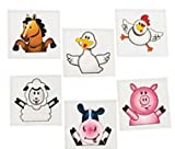 : 144 Farm animal tattoos - barnyard Party favors