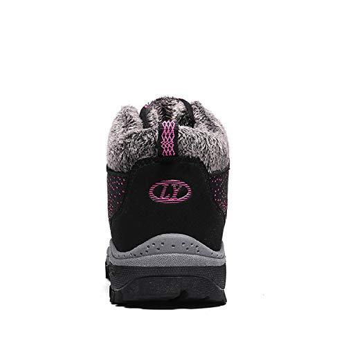 Bottines Neige Femmes Baskets Fourrées Lacets Bottes Tqgold D'hiver De Plates Rose Chaussures Chaudes Ankle Noir Boots UqtAYnHWPn