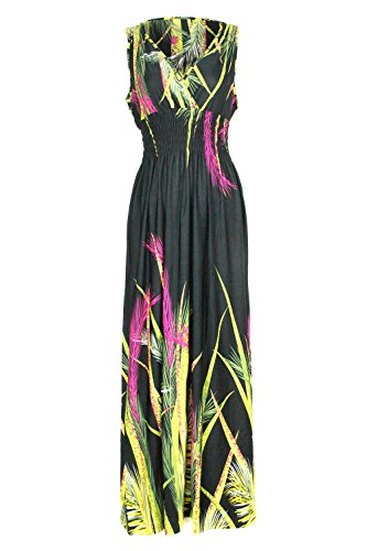 G2 Chic Women's Bohemian Summer Smocked Jersey Maxi Dress(DRS-MAX,BLKA5-L) (Purple Leopard Print Thigh Highs)