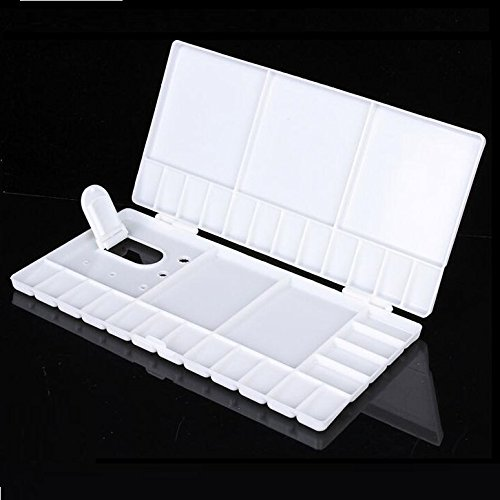 Chris.W White Large Watercolor Folding Palette - 33 Mixing Wells - Box Cover Lid Opens Flat For Art Studio w/Thumbhole for Plein Air Painting - Acrylic & Oil Palettes - 10.2