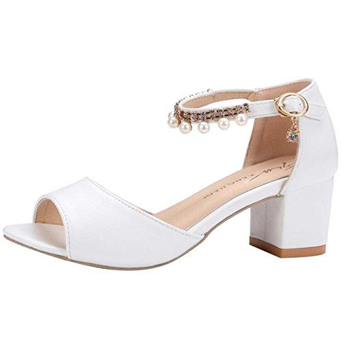 Block Block Block heel Mashiaoyi Buckle Beaded Sandalo bianca strap Donna   6a39fb