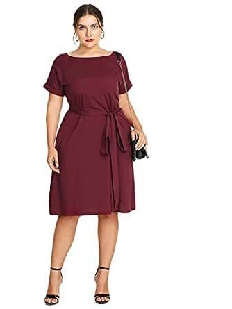 Floerns Women's Plus Size Summer Short Sleeve Tie Waist Dress Burgundy 3XL