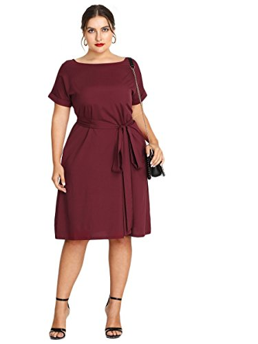 Tie Waist Floerns Short Size Plus Burgundy Women's Summer Dress Sleeve nxBYq4SwWB
