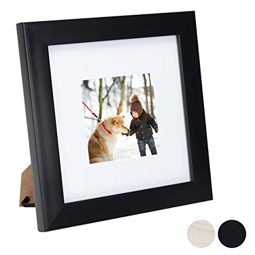 8X8 Glass Picture Photo Instagram Frame (1 Pack) with Matted for 4X4 Black Color, Table Top and Wall Mounting Display