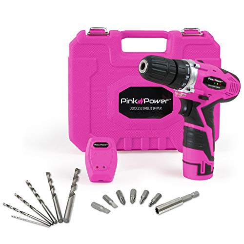 Pink Power PP121LI 12V Cordless Drill & Driver Tool Kit for Women- Tool Case, Lithium Ion Electric Drill, Drill Set, Battery & Charger (Renewed)
