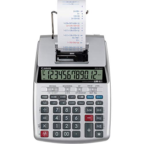 Canon P23-DHV-3 Printing Calculator with Double Check Function, Tax Calculation and Currency Conversion (That Calculator Prints)