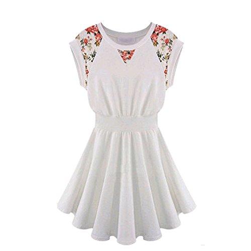 Oulifa Flared Pin Up Cap Sleeve Empire Line Swing Hem Dress Mini Skater Dress (Evil Cheerleader Dress)