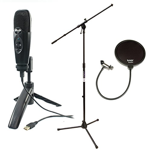Cad U37 USB Condenser Recording Microphone (Black) w/ Knox Pop Filter & On Stage MS7701B Euro Boom Microphone Stand (Black) (Ms7701b Euro Boom Microphone Stand)